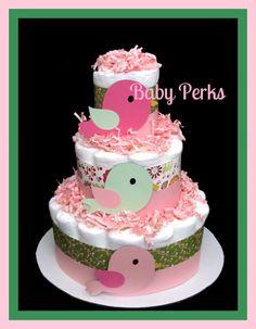 Bird Diaper Cake  For baby Girl baby Shower by MsPerks on Etsy, $38.99