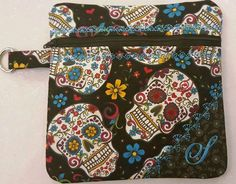Embroidered Zippered Skull Purse Makeup Bag by Allamericanacrafts