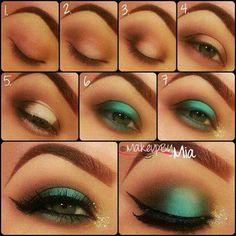 Maquillaje de ojos en color verde
