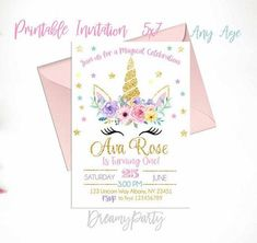 New baby first birthday party ideas girl diy pink and gold 61+ Ideas Unicorn Birthday Invitations, Birthday Party Favors, First Birthday Parties, First Birthdays, Birthday Ideas, Diy Birthday, Birthday Wishes, Birthday Cakes, Baby Shower Decorations For Boys