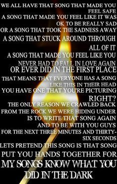 Fall Out Boy - My Songs Know What You Did In the Dark -Pete Wentz Quote