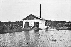 Casa das bombas que sugavam água do rio Itá. O açude é o depósito para irrigação. Operavam ali duas grandes centrífugas com um motor de 25 cavalos. Campos de Santa Cruz, (atual bairro de Santa Cruz), arredores da cidade do Rio de Janeiro, abril de 1910.