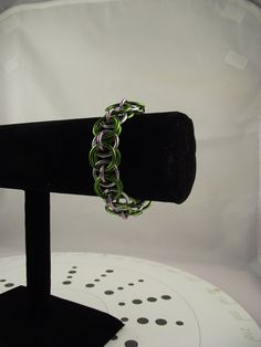 Green, Silver & Pink Chainmaille Bracelet. $18.00, via Etsy.