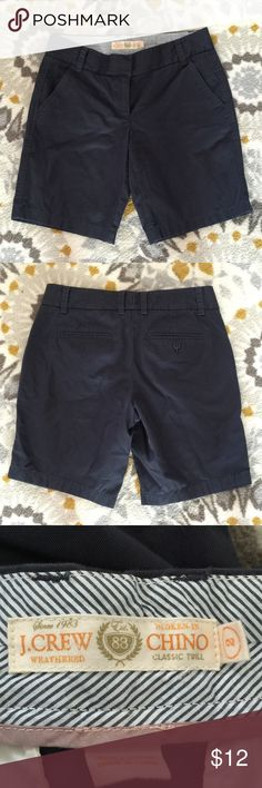 """J. Crew Chino Shorts J. Crew Chino Shorts - Broken-In Chino Classic Twill style, navy in color. Great condition, no flaws or stains. Size 2. *measurements (taken laying flat): waist - 15"""", hips - approx. 17.5"""", inseam - 9"""". J. Crew Shorts Bermudas"""