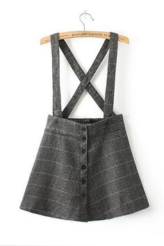 2015 Free shipping College Style Plaid Suspender Skirt for women