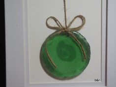 Green Sea glass Christmas Ornament - original design using a sea glass bottle bottom to create a Christmas ornament
