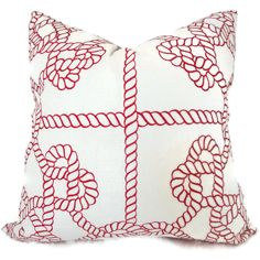 Nautical Rope Cushion Cover! #preppy  Duralee Red and White Knots Decorative Pillow Cover by PopOColor, $45.00