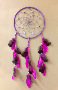 Flower Dreamcatcher, handmade at Beaden. Pink, Purple, Dream Catcher, Flowers, Handmade, Stuff To Buy, Home Decor, Art, Art Background