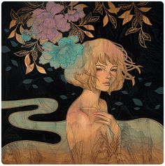 Audrey Kawasaki's beautiful paintings are all on wood panel and she uses oil, graphite and ink to create each piece. She is inspired by Manga comics and the Art Nouveau movement, and whil