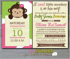 Monkey Baby Shower Invitations Girl: Product No. 313 - Mod Monkey Baby Shower - 12 Printed Invitations