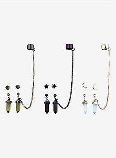 Lunar Love // Blackheart Moon Star Crystals Cuff Earring Set