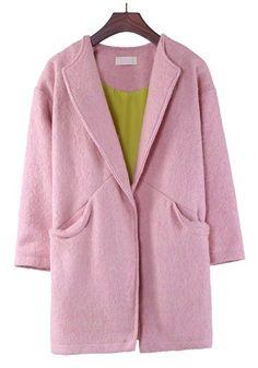 Pink Plain Turndown Collar Stud Thick Wool Coat