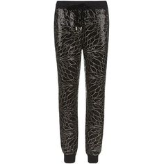 Juicy Couture Leaf Sequin Tapered Trousers ($350) ❤ liked on Polyvore featuring pants, black trousers, juicy couture pants, black pants, shiny pants and sequin pants