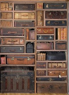 One can't have too many cool suitcases! You could make luggage tags with a list of what's inside each one...superb storage idea... LOVE IT!