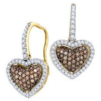 Brown Diamond Heart Shaped Fashion Earrings 10K Yellow Gold (0.58 ct.tw.). #Diamond #Earring #fashion #Heart #Jewelry #Yellow #Brown jeweltie.com