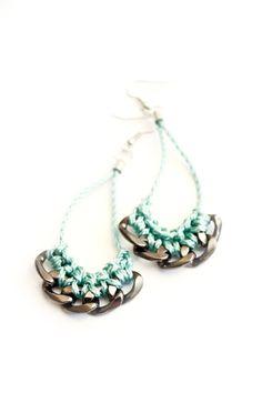 earrings crochet utility rope yarn mint green gunmetal by gudbling