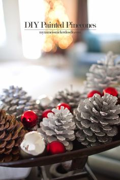 My Name Is Snickerdoodle: DIY Painted (and Glittered) Pinecones