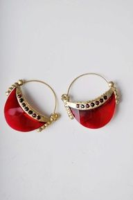 Bejeweled Red Ear Drop
