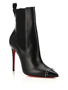 Christian Louboutin Banjo Spiked Cap-Toe Leather Booties