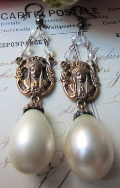 RESERVED for Rita rosary drops vintage pearl by TheFrenchCircus