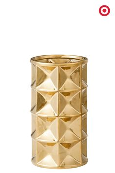 Add dimension and texture to your home with this gold-accented, faceted vase from Nate Berkus. Filled or empty, it's a gorgeous addition to any decor.