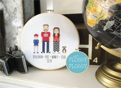 Custom Family Portraits for Singles Couples by SewFlossyFlossy
