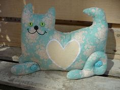 Shabby Chic Cat Door Stop Vintage Look Fabric Duck Egg Blue Floral