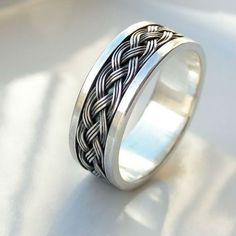 This is the widest version of my Celtic ring. Perfect as a mens wedding band, mens ring or unisex wide band ring. Made to order in your size. The - best mens jewelry, mens gold jewelry, mens rings jewelry Mens Celtic Rings, Celtic Wedding Rings, Wedding Ring Bands, Silver Claddagh Ring, Sterling Silver Rings, Silver Man, Wedding Men, Jewelry Rings, Jewellery Box