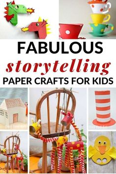 Storytelling Paper Crafts: Try these ten paper crafts paired with classic and favorite children's stories to extend story engagement. Quick Crafts, Paper Crafts For Kids, Book Crafts, Fun Crafts, Arts And Crafts, Literacy Activities, Activities For Kids, Paper Tea Cups, Fairy Tale Crafts