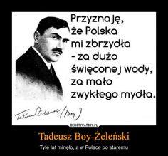 Tadeusz Boy-Żeleński – Tyle lat minęło, a w Polsce po staremu Przyznaję,że Polskami zbrzydła- za dużoświęconej wody,za mało zwykłego mydła. You Dont Say, Hilarious, Funny, Motto, Sentences, Wise Words, Quotations, Life Quotes, Wisdom