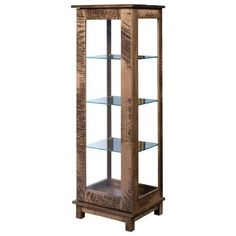 Amish Albert Display Curio Cabinet Here's a contemporary look for a curio! The Albert is built in the wood and stain you choose. Wood furniture made in Amish country, this beauty has three adjustable shelves and touch lighting. #curiocabinet Dining Corner, Dining Hutch, Curio Cabinets, Storage Cabinets, Quarter Sawn White Oak, Dining Room Storage, White Oak Wood, Amish Country, Vintage Plates