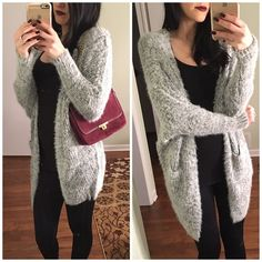 • Soft grey fuzzy cardigan • The softest and cozier cardigan you have ever felt. Truly a unique texture -  60% cotton and 40% acrylic .. One size ..  Please don't purchase this listing comment below and I will create you a new listing                                                                        ❌No trades  Non smoking home  same/next day shipping Sweaters Cardigans