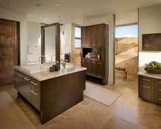 Master bath | Modern Spanish Home (I love the Island sink with all the drawers!)