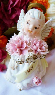 Vintage Lefton Angel Birthday Girl May  figurine