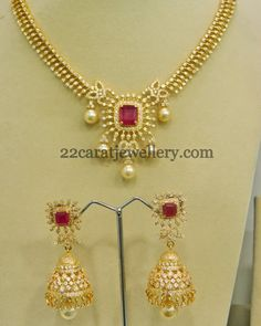 Jewellery Designs: CZ Necklace with Jhumkas in Diamond Setting