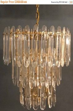 Excited to share this item from my shop: Sciolari Chandelier Midcentury Italian vintage crystal chandelier by Sciolari, Free Shipping on Etsy to USA #lighting #gold #bedroom #midcentury #glass #etsychandelier #9lightlamp
