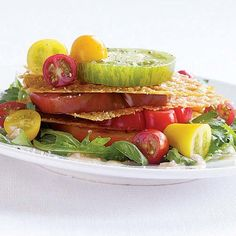 Heirloom Tomato Napoleon with Parmesan Crisps & Herb Salad - FineCooking