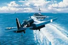 Pilots made a wide turn to be able to see the deck to land. This was because of the long nose of the Corsair.