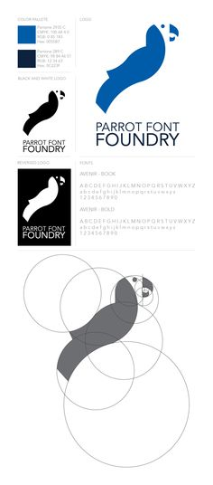Parrot Font Foundry by Luke Sohl, via Behance  Last semester we had to design a logo for a fictional online font foundry. I came up with a logo for Parrot Font Foundry and I liked it at the time, but when looking back at it, decided it could use some changes. Tried using the golden ratio to design the new logo. Here is the branding sheet for the redesign I did.