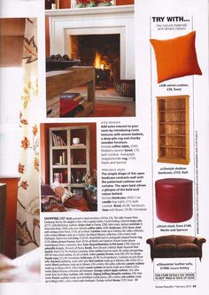 House Beautiful magazine February 2011 Featured: Lifestyle bookcase in natural reclaimed teak House Beautiful, Beautiful Homes, Vibrant Colors, Colours, Interiors Magazine, Velvet Cushions, Lombok, Wooden Furniture, Rafting