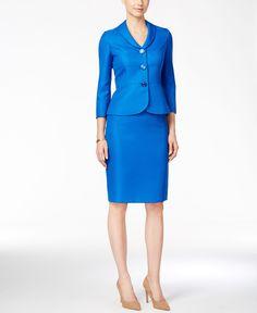 bd40f743d1713 Le Suit Three-Button Jacquard Skirt Suit Women - Wear to Work - Macy s