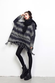 Jacquard Wool Bat's-wing-sleeved Sweater with Tassels