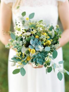 wedding flowers Image by Ann Kathrin Koch. - A Scottish Highlands Wedding At Coos Cathedral With A Raimon Bundo Weddding Dress And A Craspedia And Succulent Bouquet Photographed By Ann Kathrin Koch. Yellow Wedding Flowers, Flower Bouquet Wedding, Wedding Blue, Bridal Bouquets, Blue Yellow Weddings, Boquet, Green Flowers, Green Leaves, Trendy Wedding