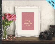 Frame on Vintage Table Styling | 4 Styled scene | 5x7 | Empty Frame Styled Mockup T1 | Tulips Camera | Ornate Portrait Landscape Frame