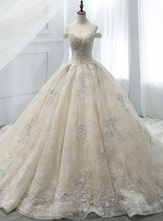 Champagne Ball Gown Tulle Appliques With Beading Off The Shoulder Wedding Dress Champagne Ball Gown Tulle Appliques With Beading Off The Shoulder Wedding Dress Western Wedding Dresses, Unique Prom Dresses, Dream Wedding Dresses, Bridal Dresses, Wedding Gowns, Wedding Venues, Long Dresses, Tulle Wedding, Wedding Cake