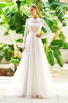 Christos Costarellos Bridal, long sleeve, romantic wedding dress