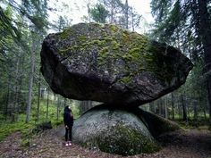 Kummakivi / Strangerock Kummakivi is worthy of its name. It is a huge block swinging on top of a rounded, smaller rock. The rock has attracted curious visitors from all over the world who all keep wondering: how on earthdid this massive block end up there and how is it still balancing there after all this time? Kummakivi is in Ruokolahti in Etelä-Karjala.