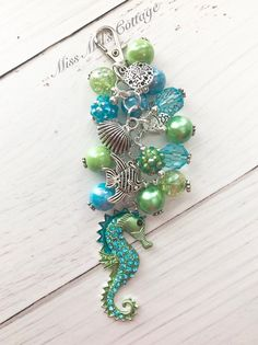Beautiful Sparkling Seahorse Zipper Bag Charm/Keychain with Beads and Ocean Charms/Purse/backpack/Planner/car rearview mirror/fan pull charm by MissMelsCottage on Etsy Beaded Earrings, Beaded Jewelry, Beaded Bracelets, Jewellery, Bead Keychain, Zipper Jewelry, Beaded Purses, Pink Gifts, Crochet Tote
