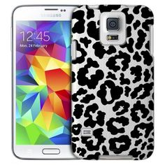 Samsung Galaxy S5 Black and White Leopard Print Case