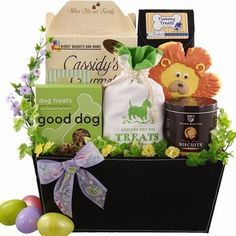 Dog christmas hamper present gift puppy xmas rawhide chew sticks easter basket for dogs shopforpaws has diy ideas to make a gift negle Image collections